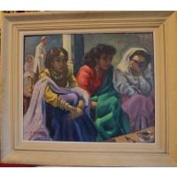 SCENE DE GENRE FEMMES ARABES HSP SIGNE A.RAUBER ENCADRE 73 x 84 cm